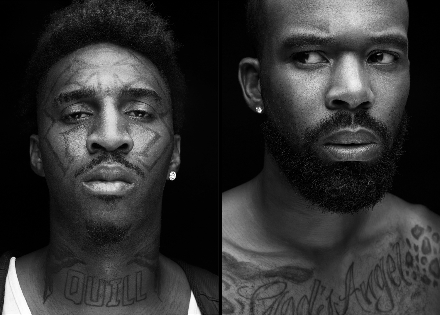 Portraits of young, tattooed, black guys in front of a black backdrop
