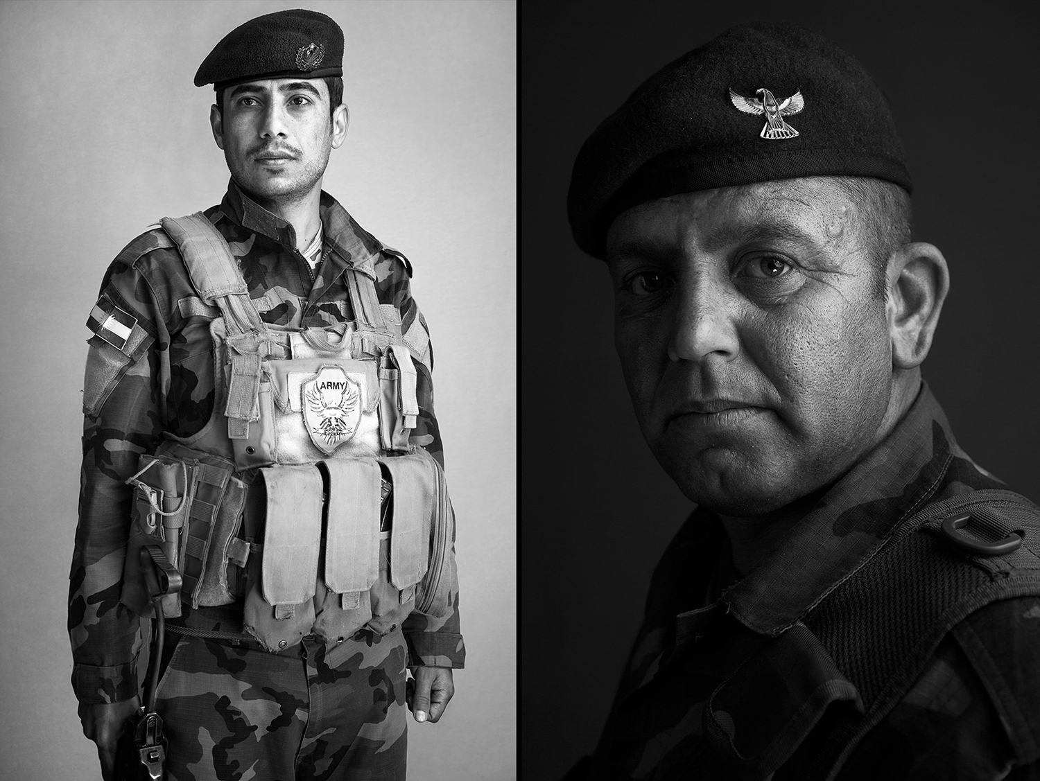 Portraits of two kurdish Peshmerga Soldiers