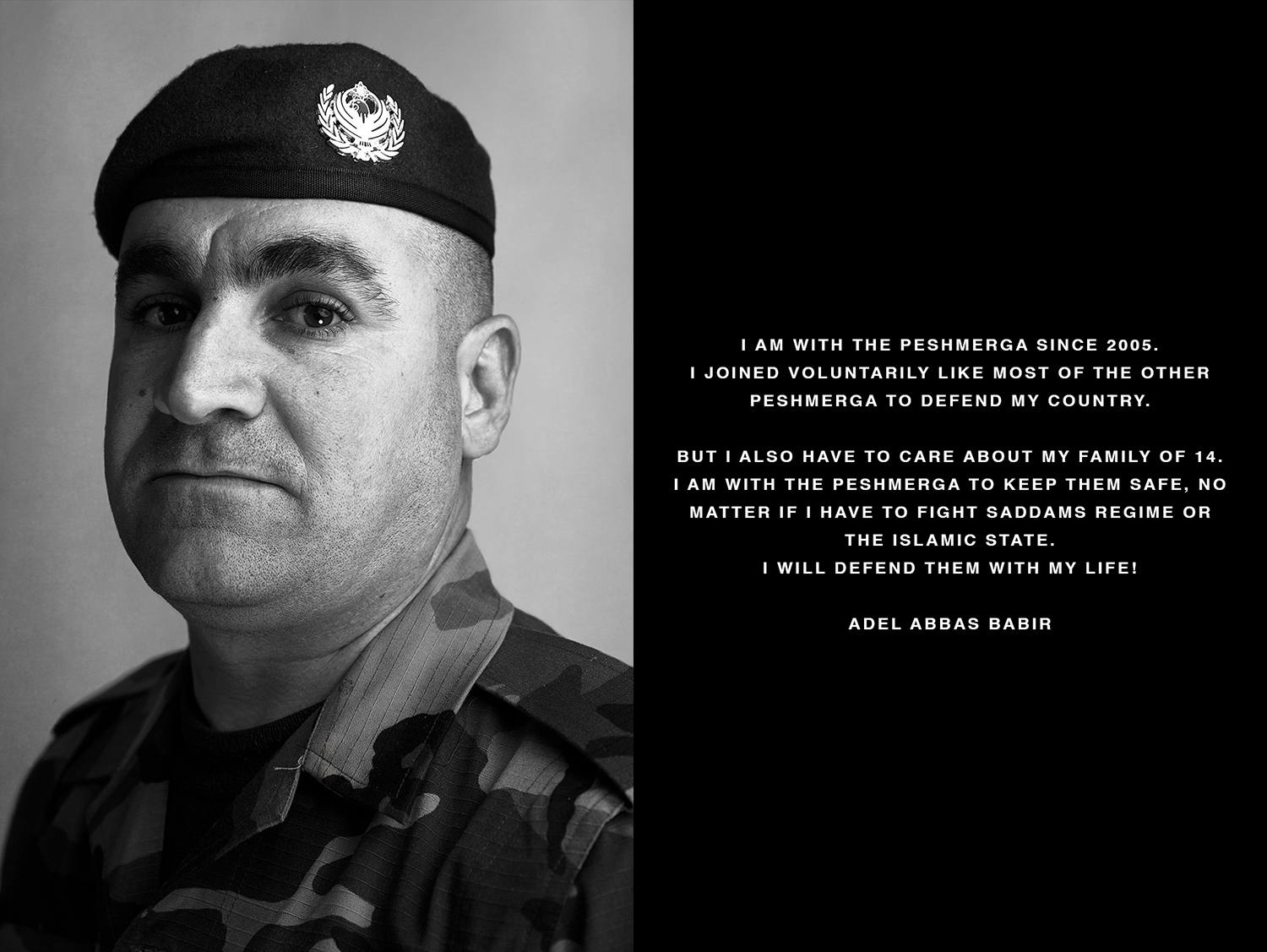 Portrait and Interview of a kurdish Peshmerga soldier