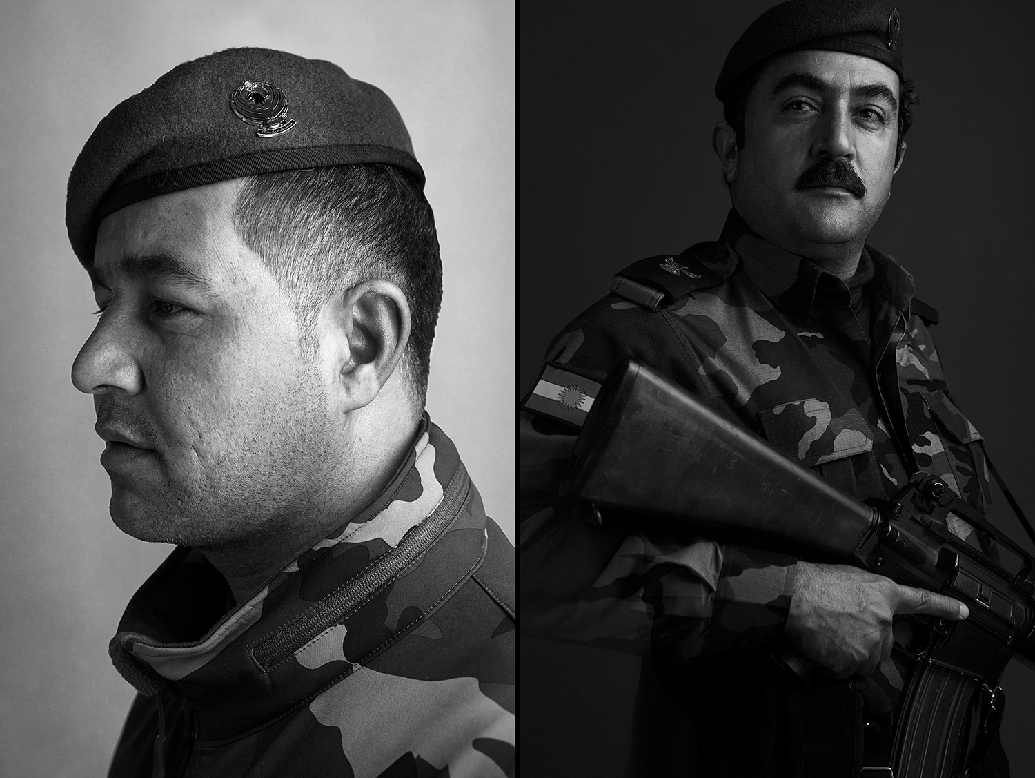 Portraits of two Peshmerga soldiers