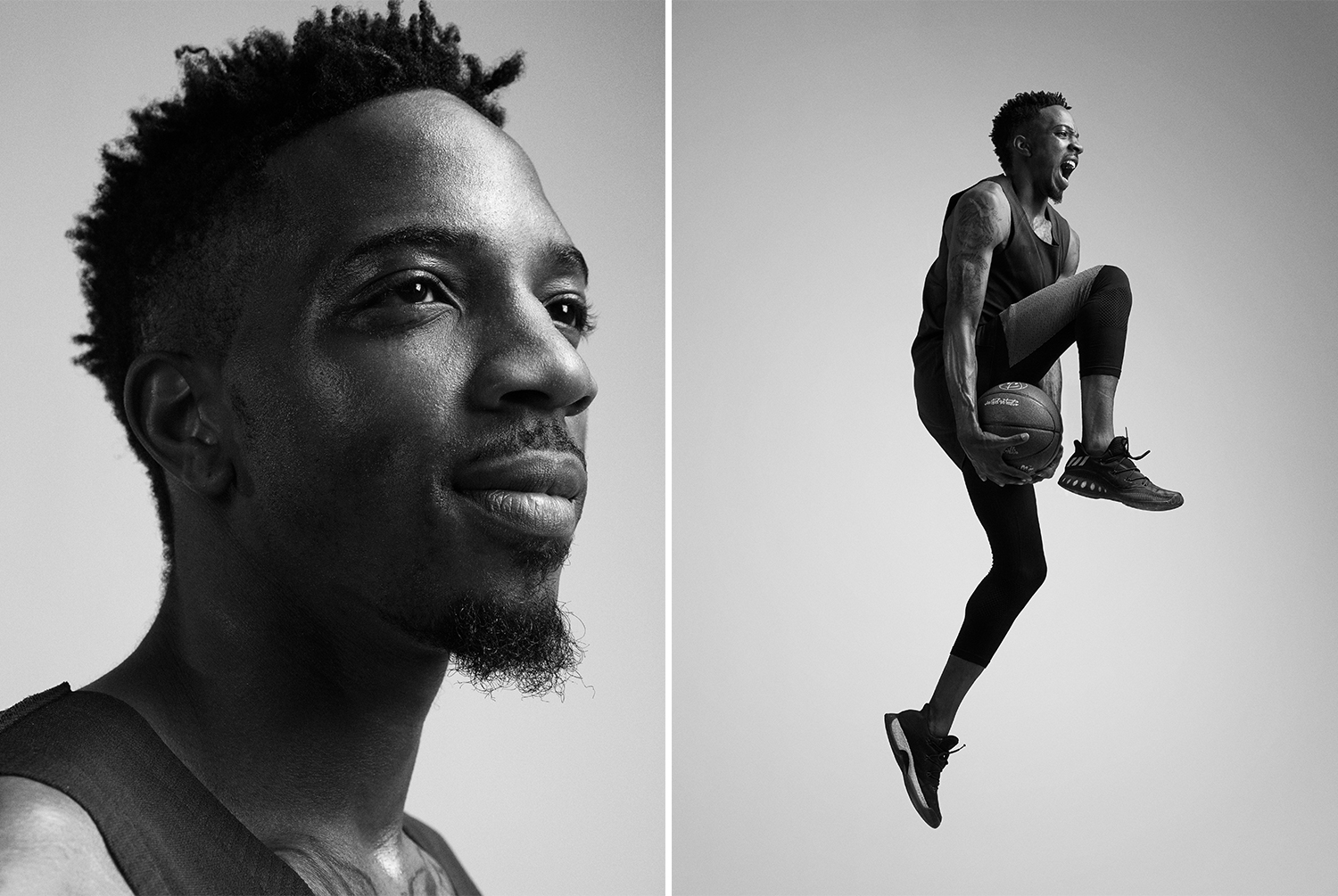 A portrait and an action shot of a Veniceball League player with in an Adidas outfit photographed by Maximilian Baier