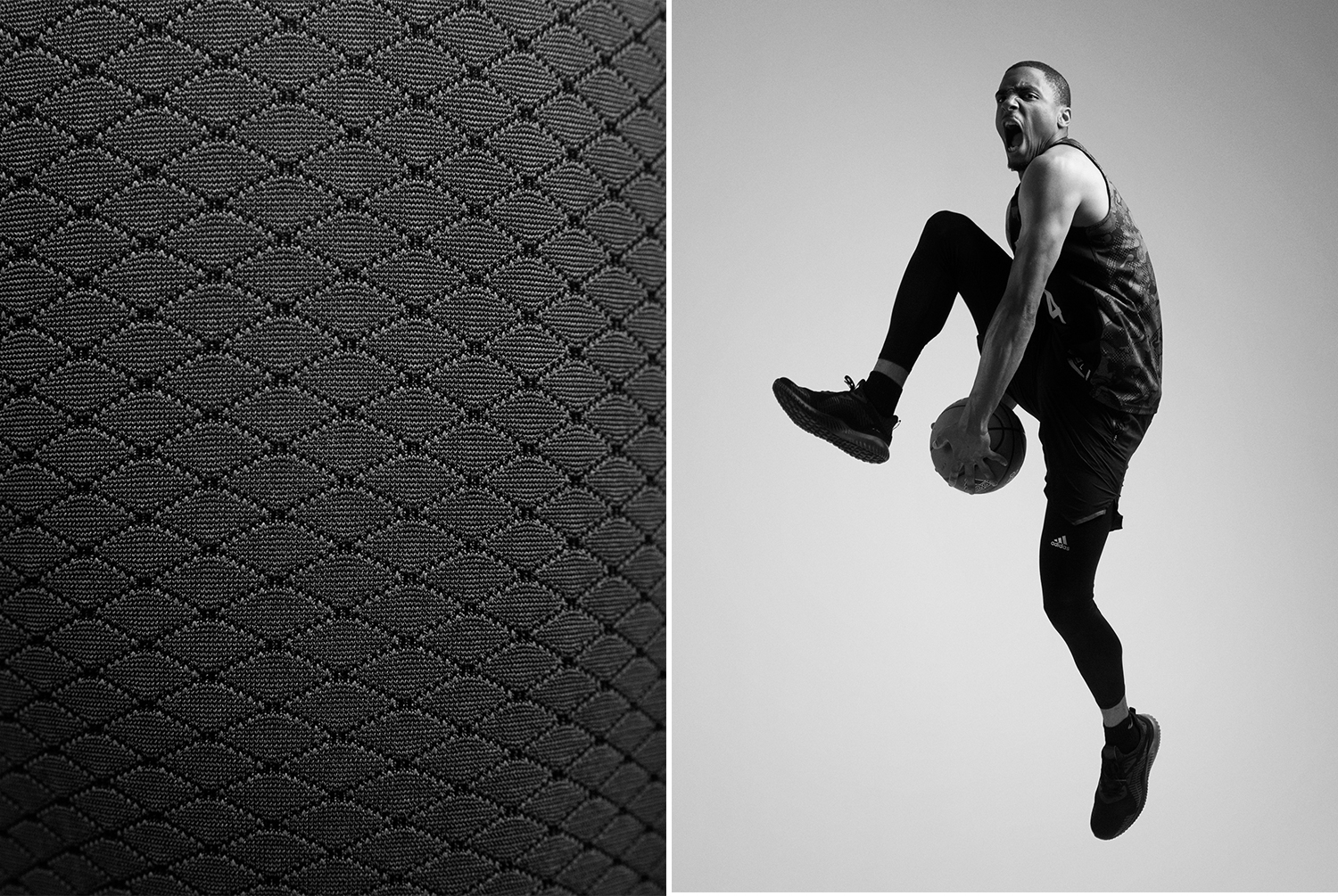 An action shot and a detail shot of a Veniceball League player with in an Adidas outfit photographed by Maximilian Baier