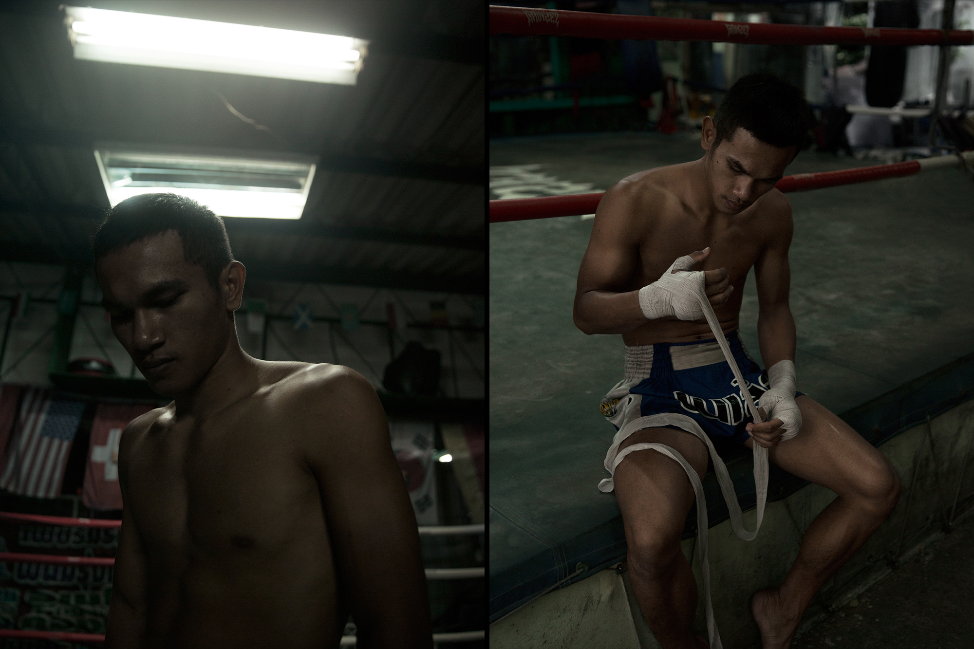 A young thai fighter photographed in Bangkok, Thailand by Maximilian Baier.